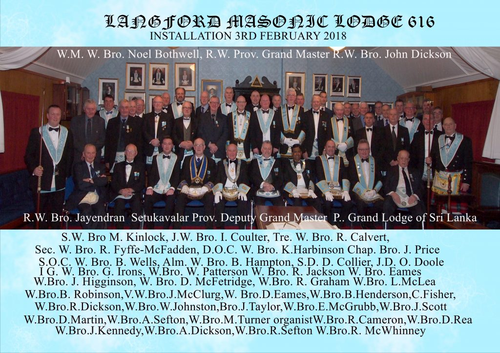 Langford Masonic Lodge 616 Installation of Officers 2018